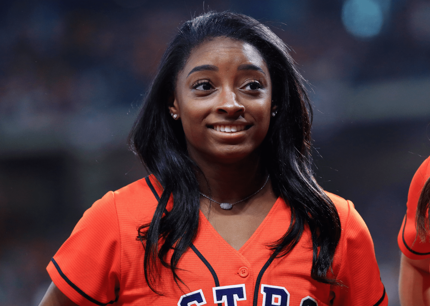 Simone Biles at a game between the Houston Astros and the Washington Nationals on October 23, 2019. | Source: Getty Images