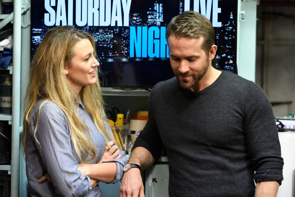 """""""Melissa McCarthy"""" Episode 1724 -- Pictured: (l-r) Blake Lively, Ryan Reynolds during the opening monologue of SNL in Studio 8H on May 13, 2017  