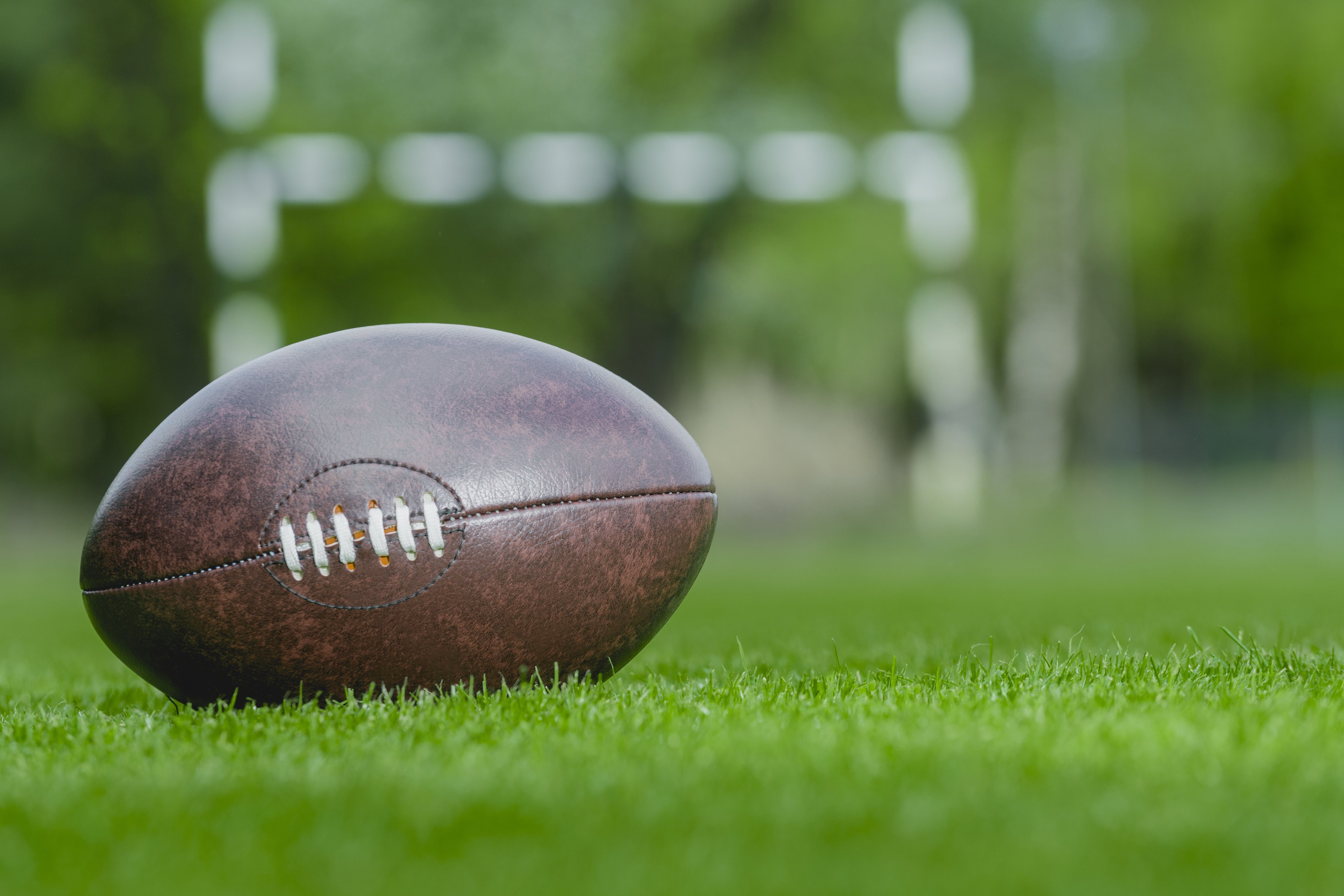 American football, rugby ball on a green grass field background. | Photo: Getty images