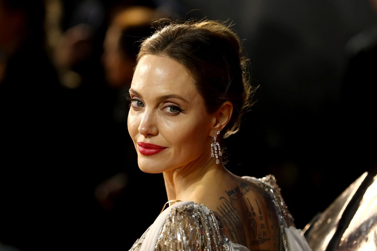 """Angelina Jolie attends the European premiere of """"Maleficent: Mistress of Evil"""" at Odeon IMAX Waterloo on October 09, 2019 in London, England. 