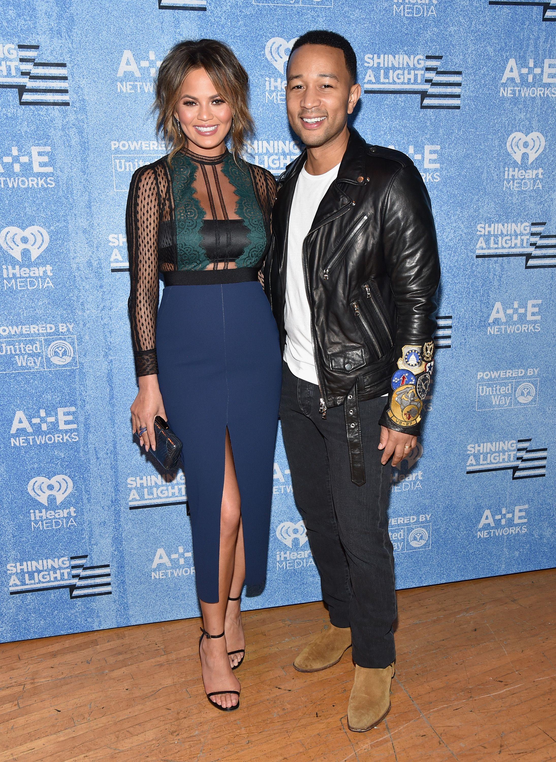 """Chrissy Teigen and John Legend during A+E Networks' """"Shining A Light"""" concert on November 18, 2015, in Los Angeles, California. 