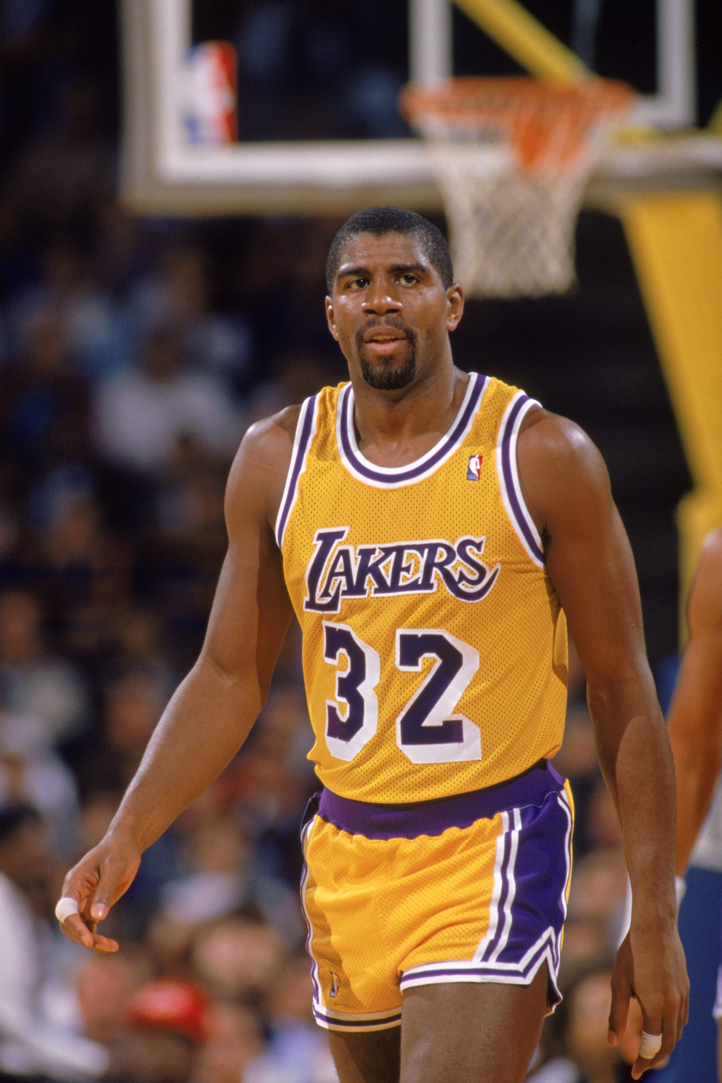 Earvin Magic Johnson on the court as #32 for the LA Lakers during an NBA Game at the Great Western Forum in 1988 | Photo: Getty Images