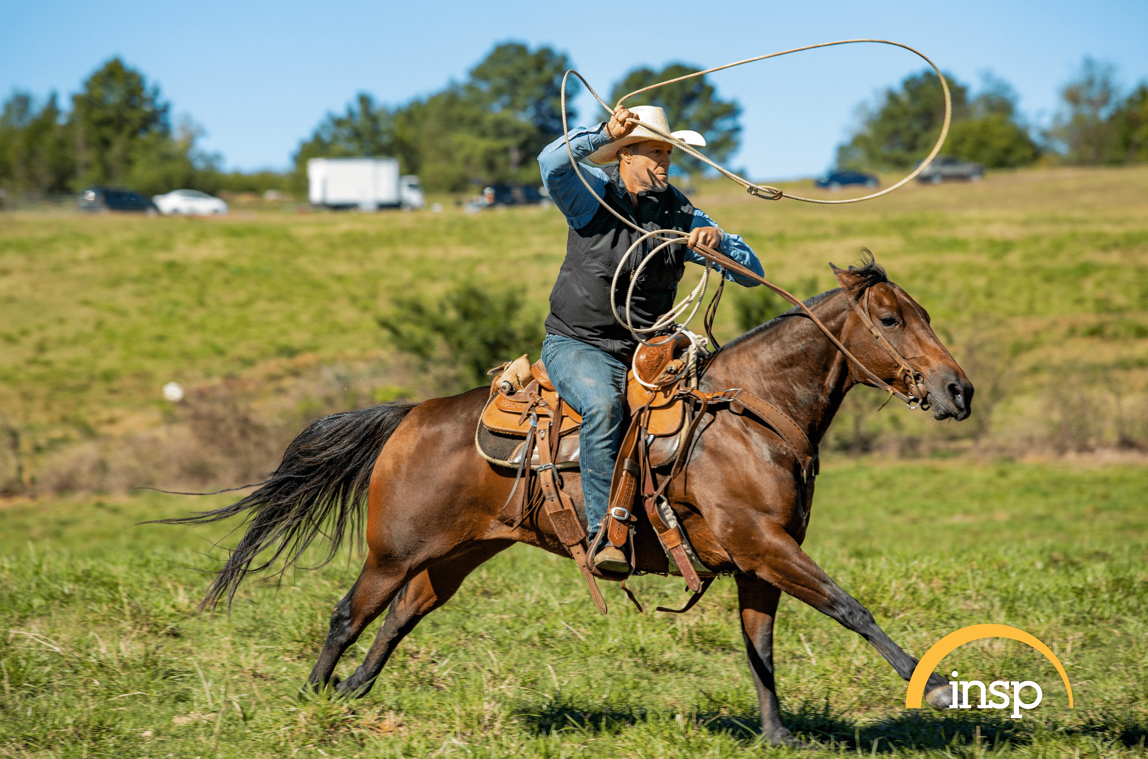 """The Cowboy Way"" star Bubba Thompson rides a horse. 