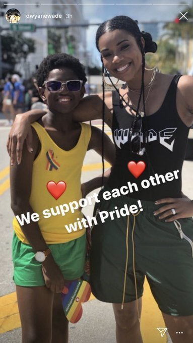 Gabrielle Union and Zion Wade at the Miami Pride Parade. | Source: Screenshot from Instagram Story/dwaynewade