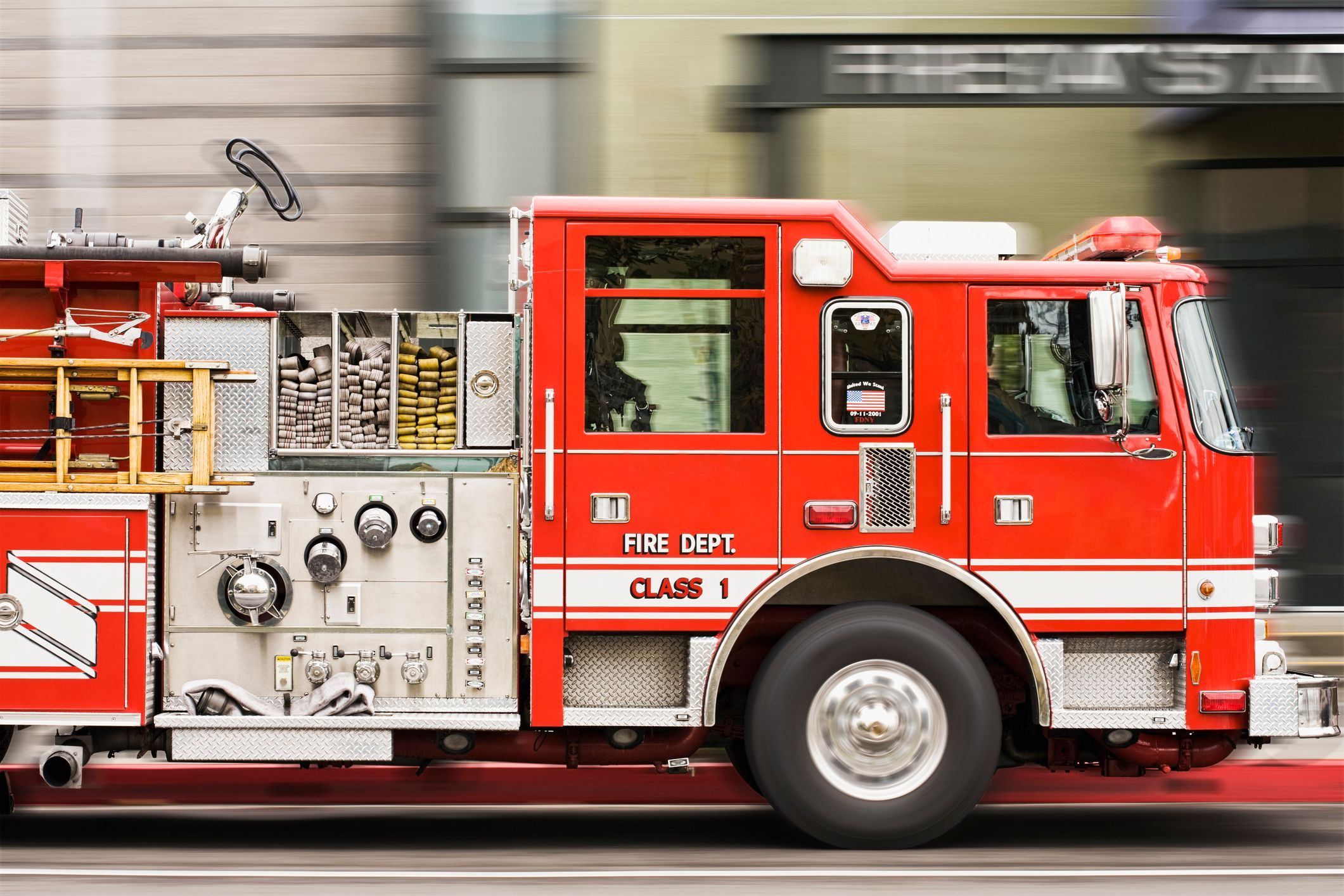 A firetruck driving through the city.   Source: Getty Images