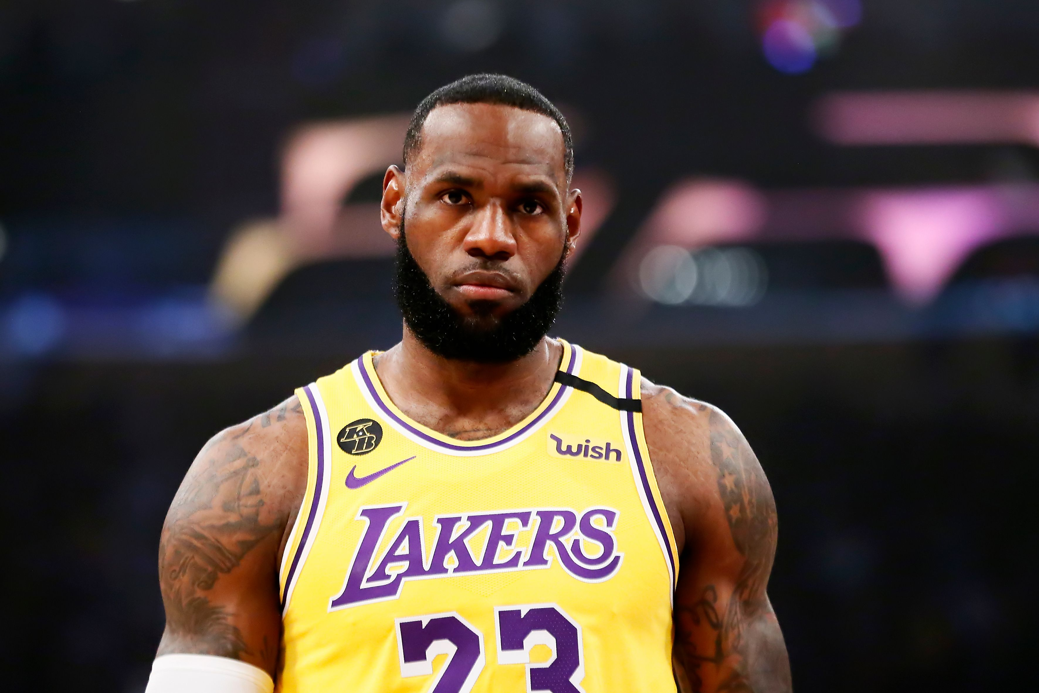 LeBron James #23 of the Los Angeles Lakers looks on during a game against the Brooklyn Nets at the Staples Center on March 10, 2020 in Los Angeles, CA. | Source: Getty Images