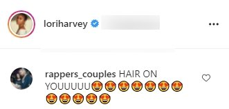 """A fan's comment on Lori Harvey""""s picture of her in a crop top. 