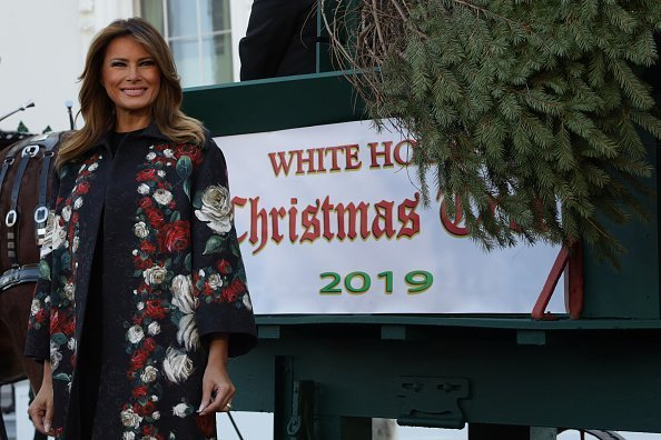 Melania Trump receives the 2019 White House Christmas Tree from Mahantongo Valley Farms in Pennsylvania at the North Portico of the White House November 25, 2019 in Washington, DC | Photo: Getty Images