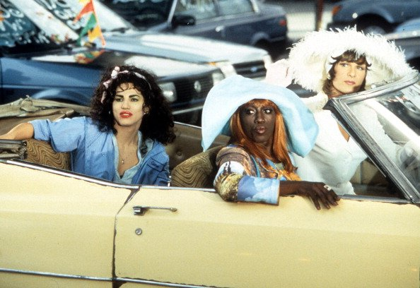 """John Leguizamo, Wesley Snipes, and Patrick Swayze in a car in a scene from the film """"To Wong Foo Thanks for Everything, Julie Newmar,"""" in 1995. 