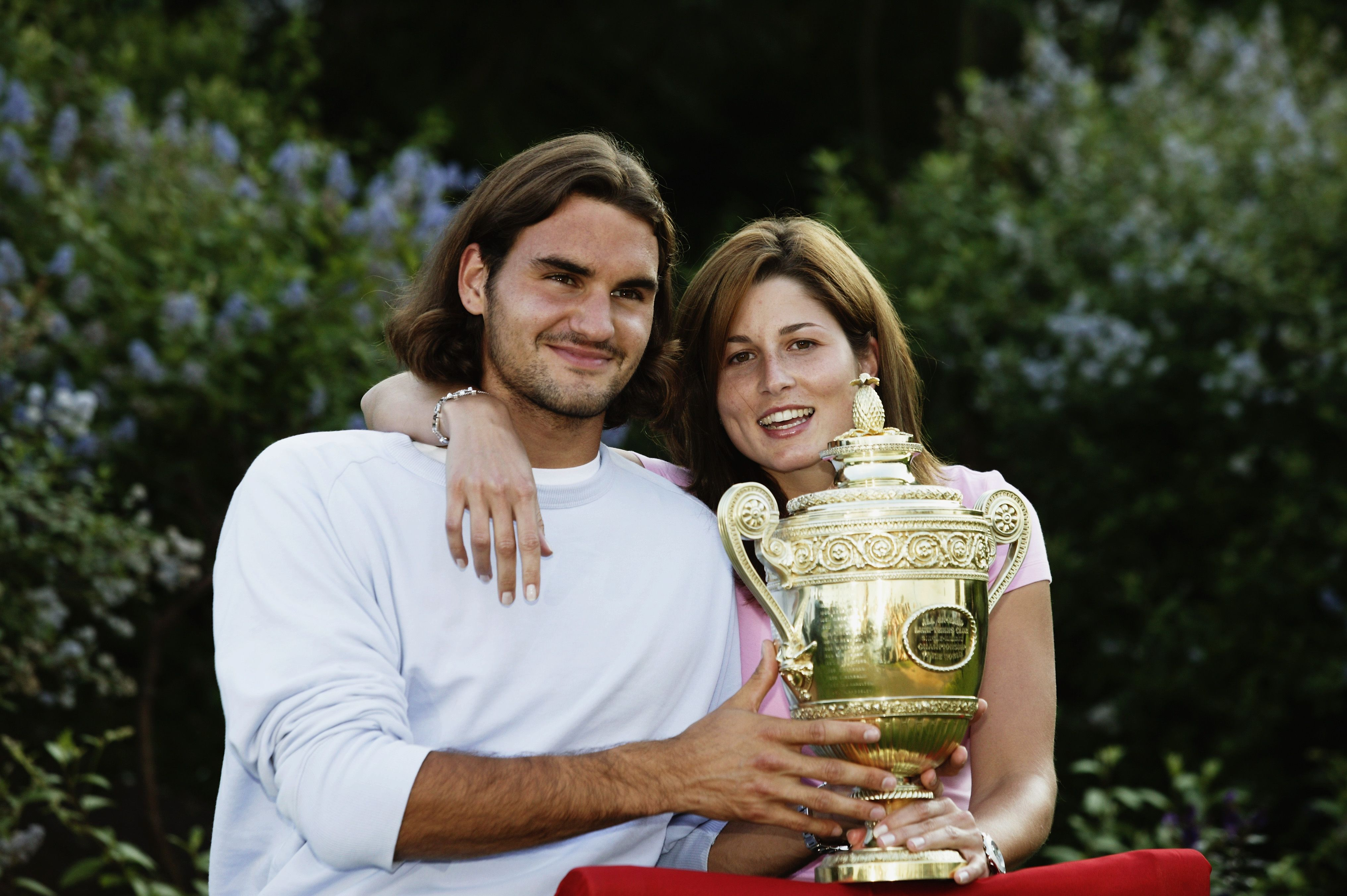 Roger Federer and Mirka Federer after his victory at the Wimbledon Lawn Tennis Championships in 2003 in London | Source: Getty Images