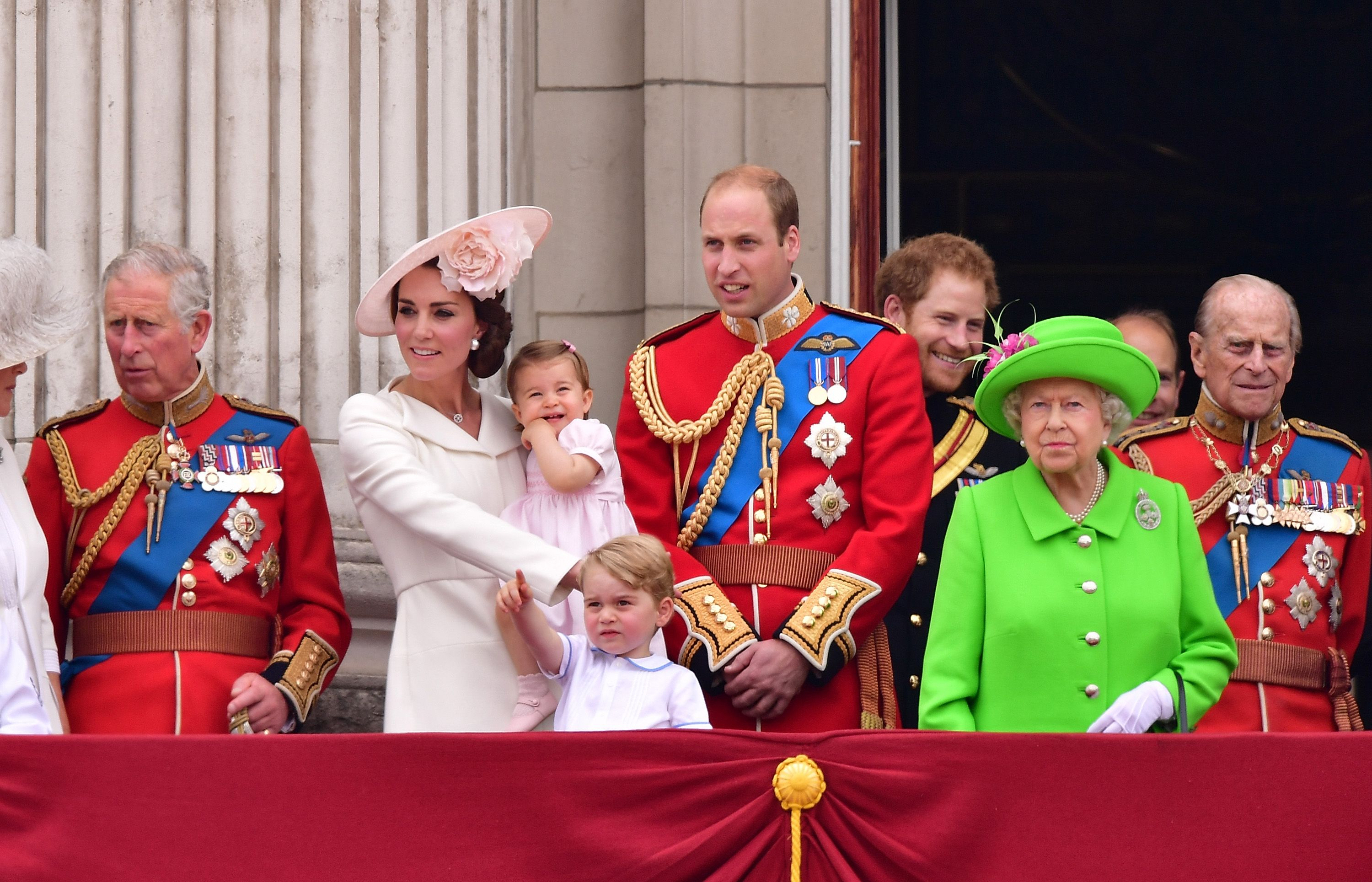 Prince Charles, Catherine, Duchess of Cambridge, Princess Charlotte, Prince George, Prince William, Prince Harry, Queen Elizabeth II and Prince Philip on the balcony during the Trooping the Colour marking the Queen's 90th birthday at The Mall on June 11, 2016.   Getty Images
