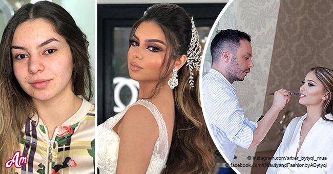 """Un maquilleur montre l'incroyable transformation d'une mariée avec des photos """"avant"""" et """"après"""""""