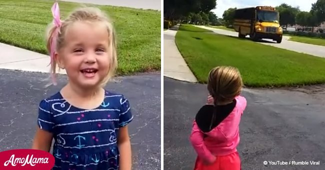 Video montage shows heartwarming reason this little girl waits for the school bus every day