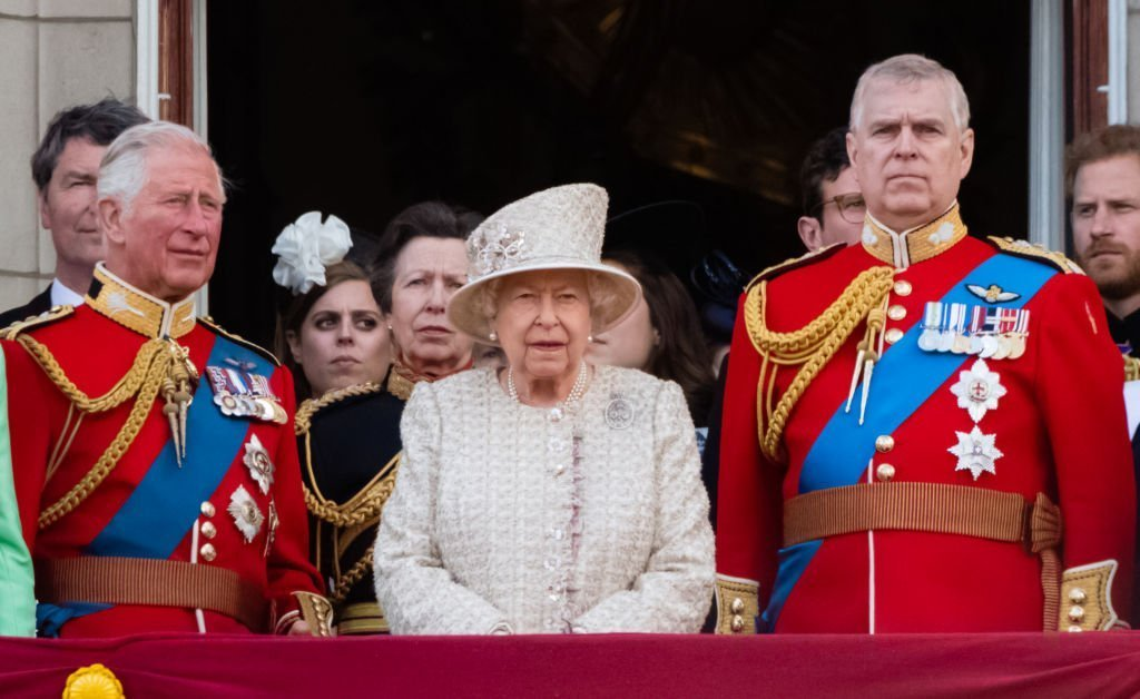 Prince Charles, Prince of Wales, Queen Elizabeth II and Prince Andrew, Duke of York appear on the balcony during Trooping The Colour, the Queen's annual birthday parade. | Photo: Getty Images