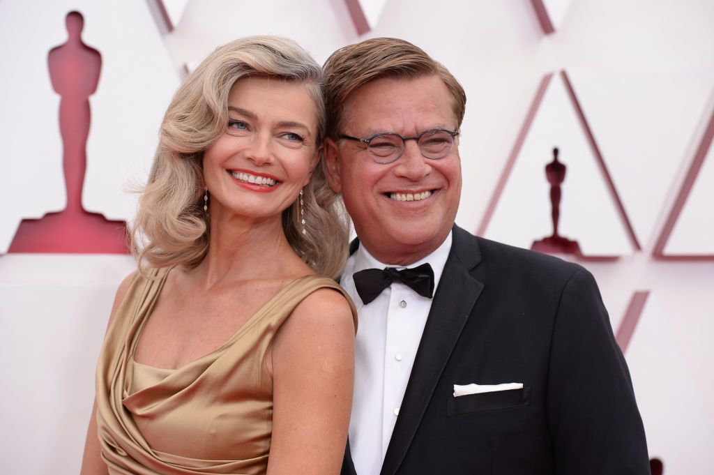 Paulina Porizkova and Aaron Sorkin at ABC's Coverage Of The 93rd Annual Academy Awards - Red Carpet on April 25, 2021 | Photo: Getty Images