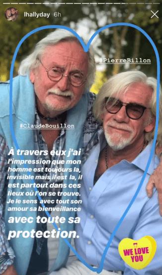 Les témoignages de reconnaissance de Laeticia Hallyday à Pierre Billon et Claude Bouillon dans une autre publication. | Instagram Story/lhallyday. |