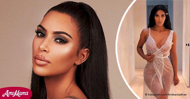 Kim Kardashian flaunts seductive curves in a sheer sparkling dress with provocative neckline