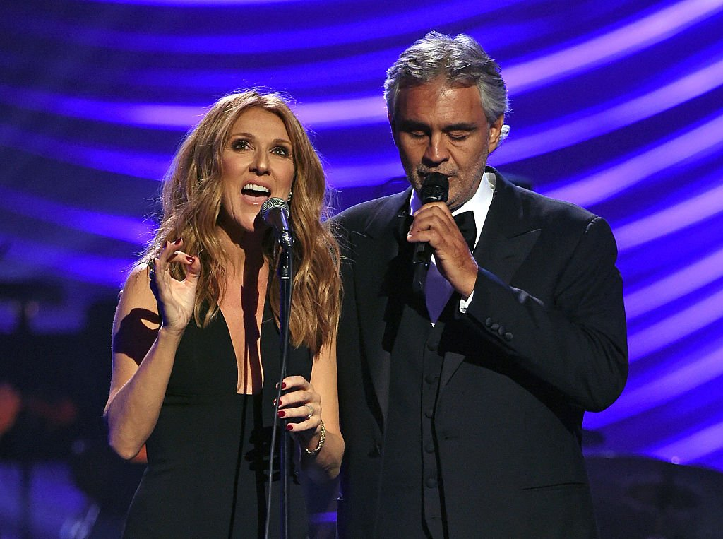 """Singers Celine Dion and Andrea Bocelli perform during the 19th annual Keep Memory Alive """"Power of Love Gala"""" benefit for the Cleveland Clinic Lou Ruvo Center for Brain Health honoring Andrea Bocelli and Veronica Bocelli at MGM Grand Garden Arena on June 13, 2015 