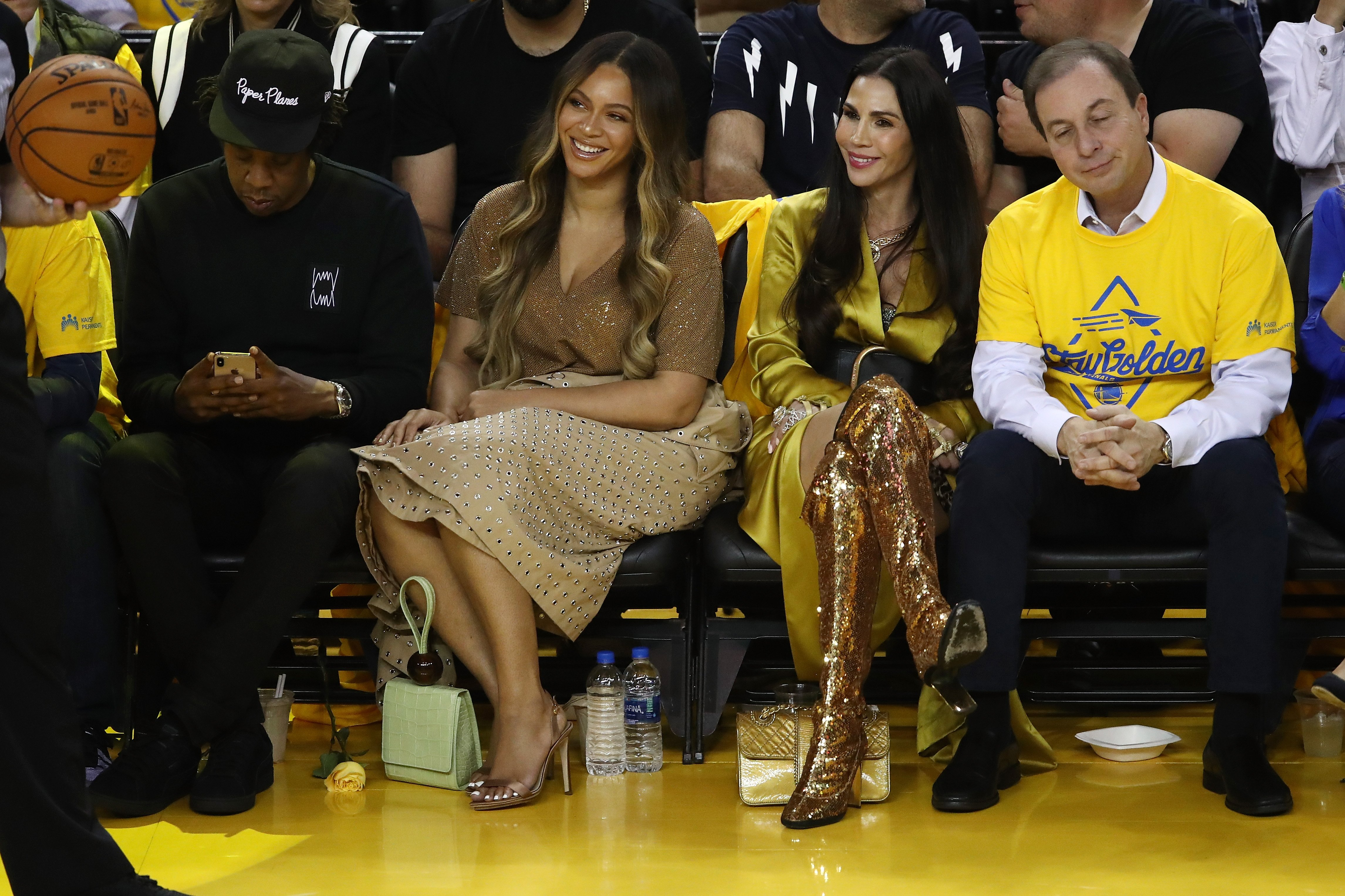 Jay-Z, Beyonce, Nicole Curran & Joseph Lacob at Game Three of the 2019 NBA Finals between the Golden State Warriors and the Toronto Raptors on June 05, 2019 in Oakland, California. | Photo: Getty Images
