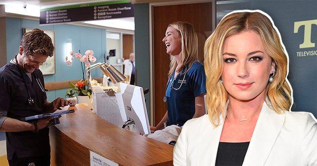 Emily VanCamp arrives for the FOX Winter TCA 2019 on February 6, 2019 in Los Angeles, California and onset with co-star in the next image   Photo: Shutterstock and Instagram/@