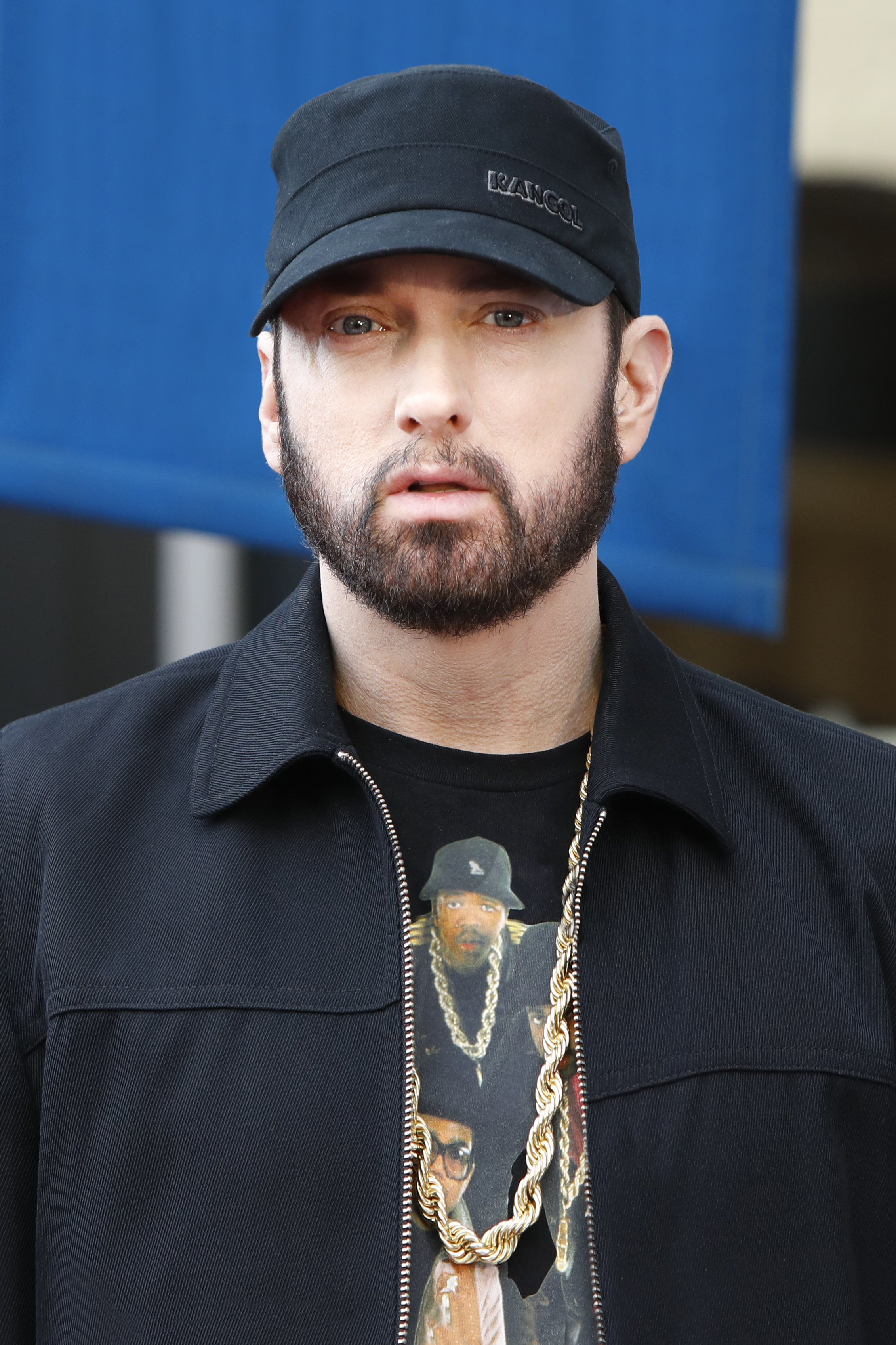 """Eminem a.k.a. Marshall Bruce Mathers III attends a ceremony honoring Curtis """"50 Cent"""" Jackson with a star on the Hollywood Walk of Fame on January 30, 2020 in Hollywood, California   Source: Getty Images"""