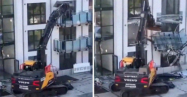 Excavator destroying a building | Photo: Twitter / RebeccaRambar