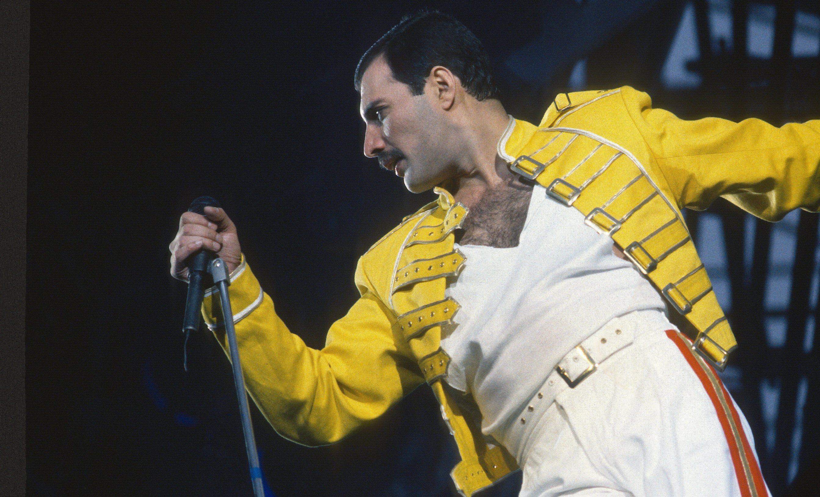 Freddie Mercury performing at a concert in London, England. | Source: Getty Images