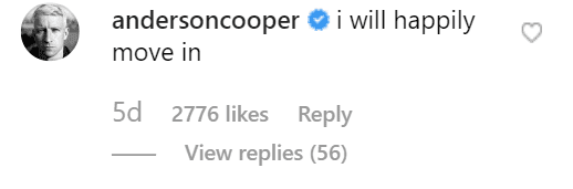 CNN host Anderson Cooper comments on Kelly Ripa's Instagram post. | Source: Instagram/kellyripa