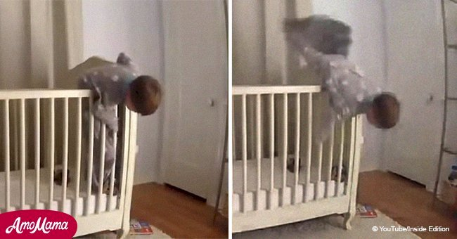 Toddler fell out of his crib and security camera caught the the hero who saved him