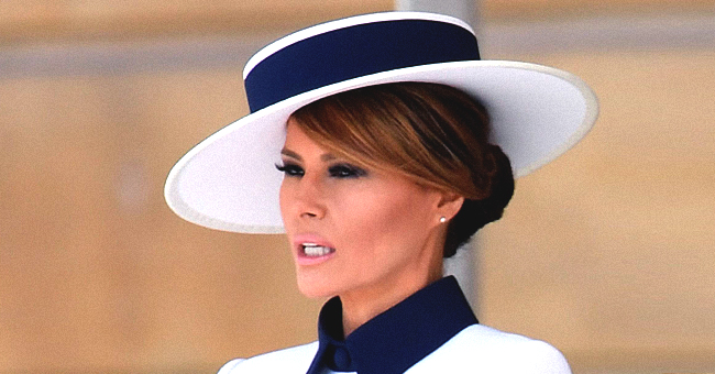 Melania Trump Pays Homage to Princess Diana by Wearing an Elegant White and Navy Outfit