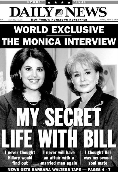 Portada del Daily News del 2 de marzo de 1999, Titular: MI VIDA SECRETA CON BILL, Monica Lewinsky entrevista con Barbara Walters sobre su relación con Bill Clinton, | Fuente: Getty Images