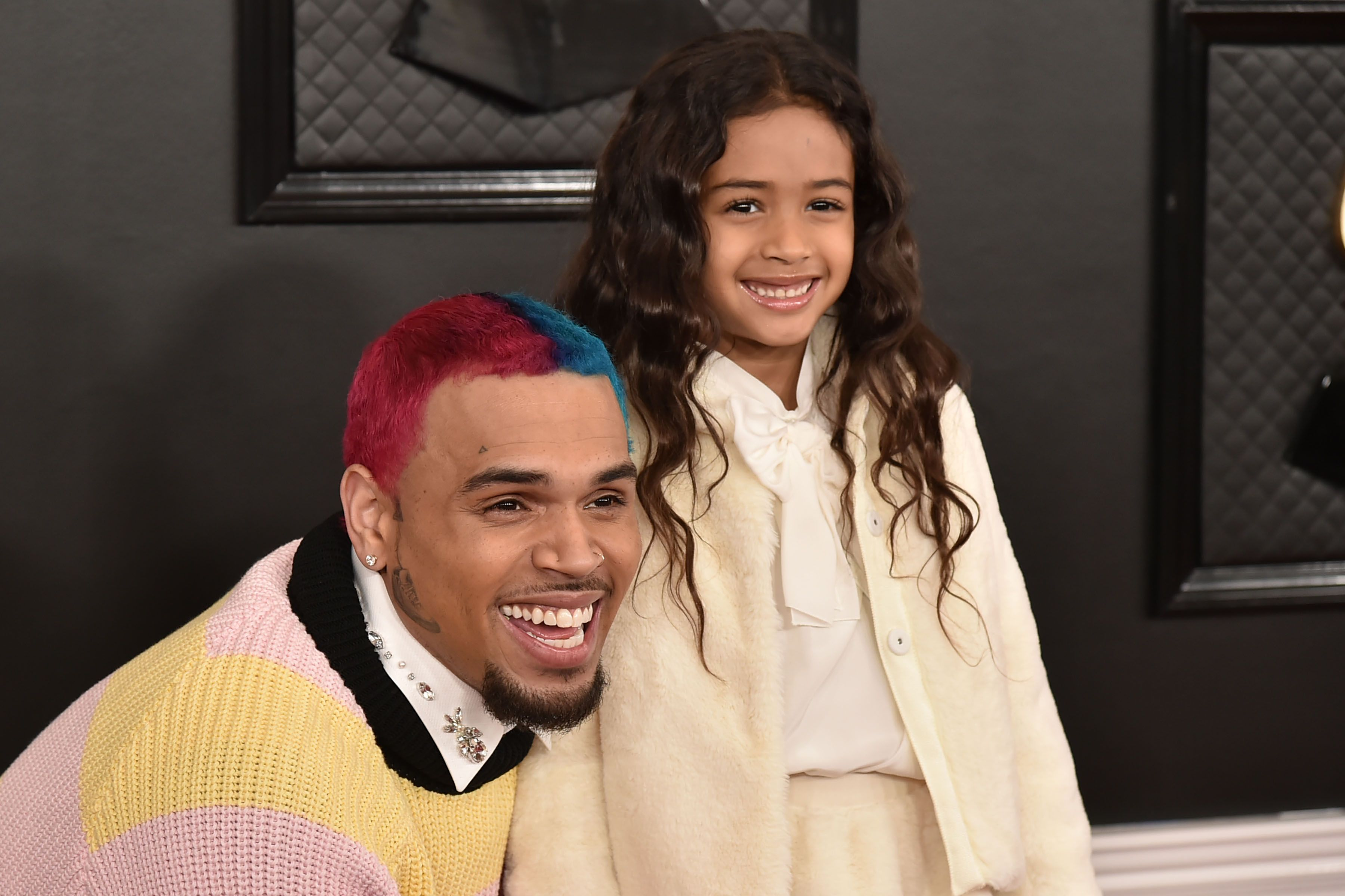 Chris Brown and Royalty Brown at the Grammy Awards on January 26, 2020 in Los Angeles.   Photo: Getty Images