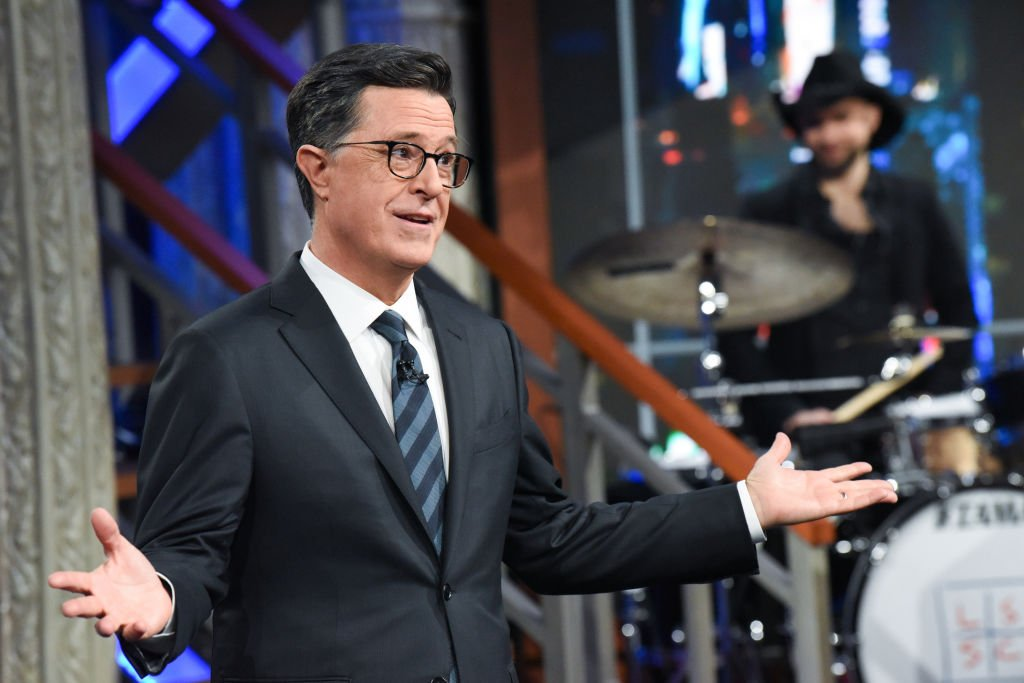 """Stephen Colbert talks to his studio audience during a live taping of the """"Late Show"""" on February 4, 2020 