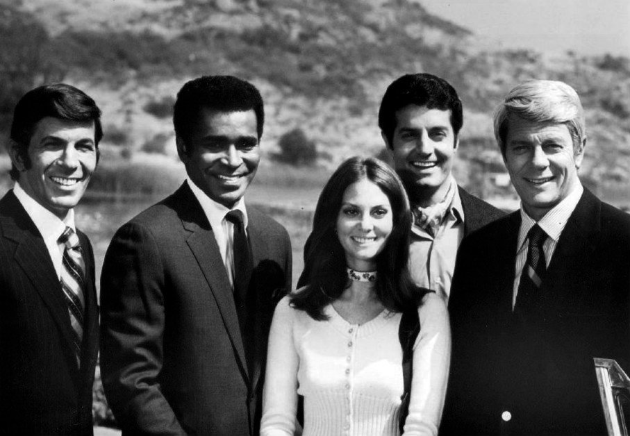 "Greg Morris with the cast of ""Mission: Impossible"" in 1970 