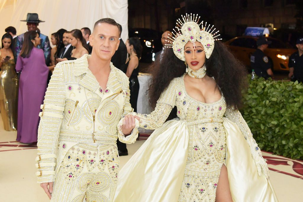 Cardi B  and designer Jeremy Scott at the MET Gala on May 7, 2018 in New York City | Source: Getty Images