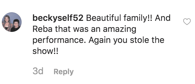 A fan praises Reba McEntire after her son Shelby Blackstock shares a backstage picture from the CMA's, on November 13, 2019 | Source: Shelby Blackstock