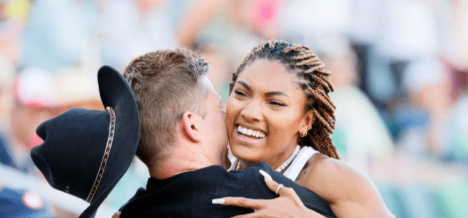 Tara Davis with boyfriend and Paralympian Hunter Woodhall on day nine of the 2020 US Olympic Track & Field Team Trials at Hayward Field on June 26, 2021 in Eugene, Oregon   Photo: Getty Images