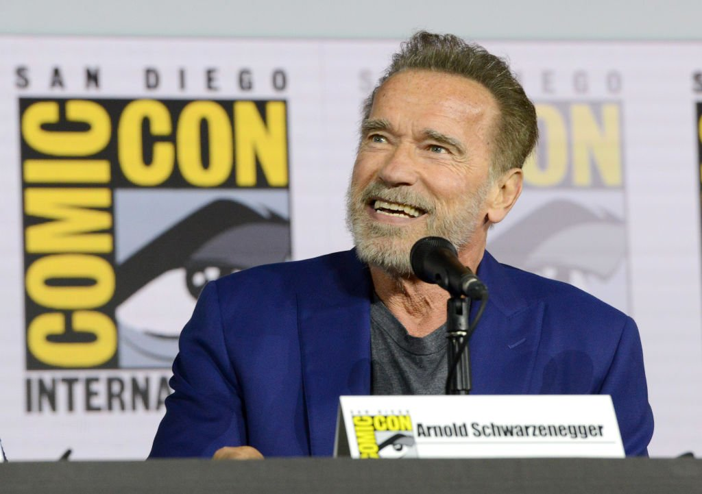 "Arnold Schwarzenegger speaks at the ""Terminator: Dark Fate"" panel during 2019 Comic-Con International at San Diego Convention Center. 