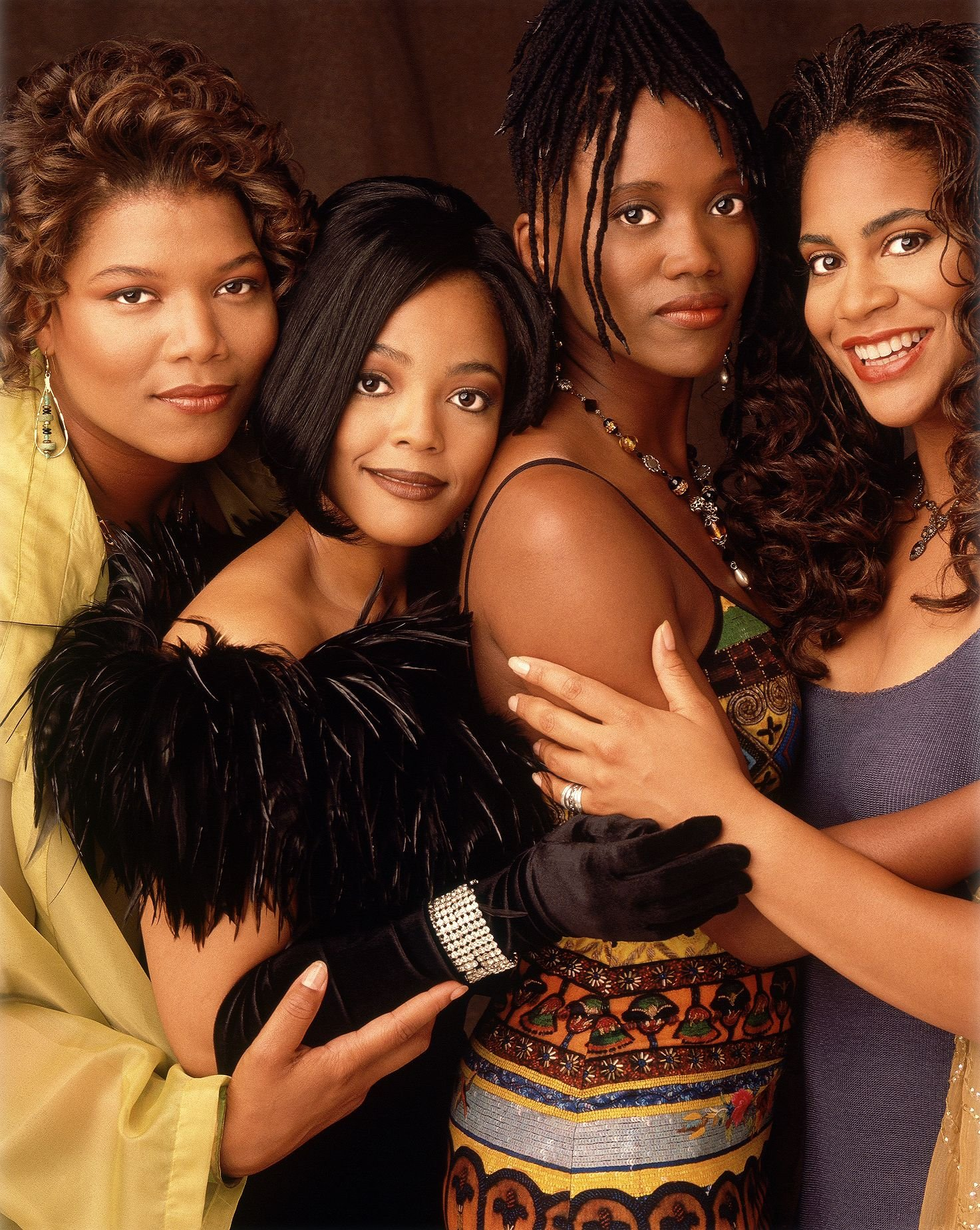 """Studio portrait of the cast of """"Living Single"""": The cast of Living Single: Queen Latifah, Kim Fields, Erika Alexander and Kim Coles in the mid 90s 