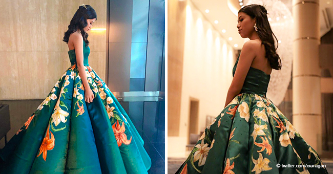 Teen Girl Stuns with an Incredible Graduation Gown That She Sewed and Painted Herself