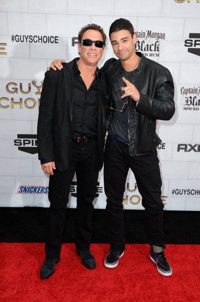 "Actor Jean-Claude Van Damme (L) and his son Kristopher Van Varenberg arrive at Spike TV's 6th Annual ""Guys Choice Awards"" at Sony Pictures Studios on June 2, 2012, in Culver City, California. 