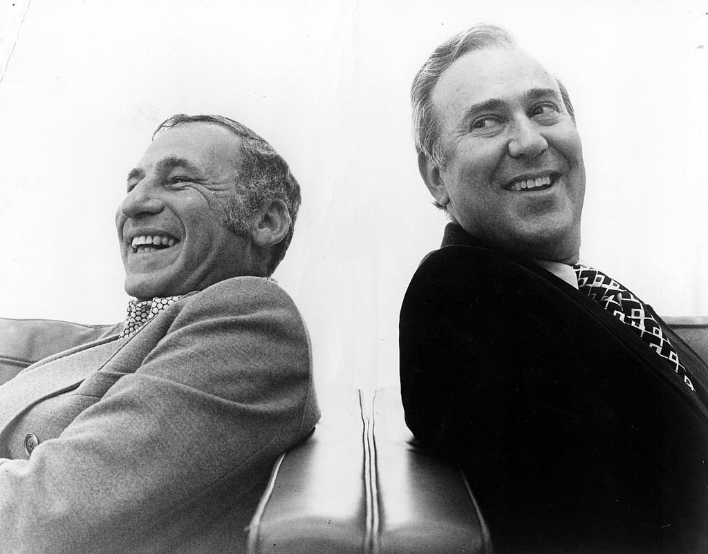 "Mel Brooks and Carl Reiner pose for a publicity portrait for their program ""2000 And Thirteen Year Old Man"" in 1974