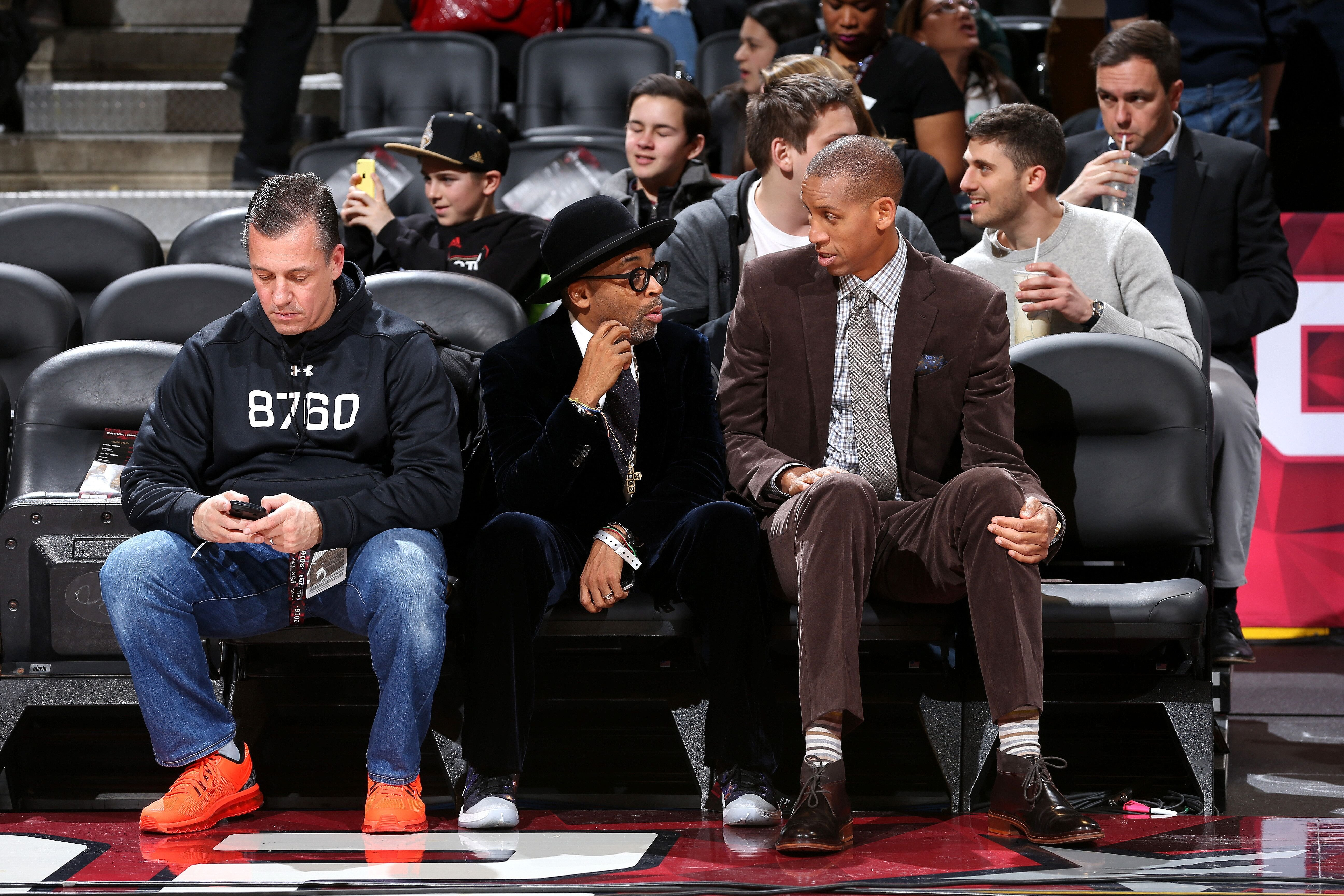 Spike Lee and former NBA player Reggie Miller of the Indiana Pacers have a discussion during the Taco Bell Skills Challenge as part of NBA All-Star 2016 in Toronto | Source: Getty Images