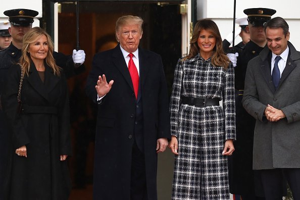U.S. President Donald Trump and first lady Melania Trump welcome Prime Minister of Greece Kyriakos Mitsotakis and his wife Mareva Grabowski-Mitsotakis at the South Portico of the White House January 7, 2020 in Washington, DC | Photo: Getty Images