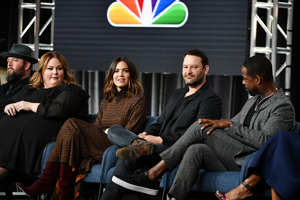 "Chris Sullivan, Chrissy Metz, Mandy Moore, Dan Fogelman and Sterling K. Brown of ""This Is Us"" at The Langham Huntington, Pasadena on January 11, 2020 in Pasadena, California. 