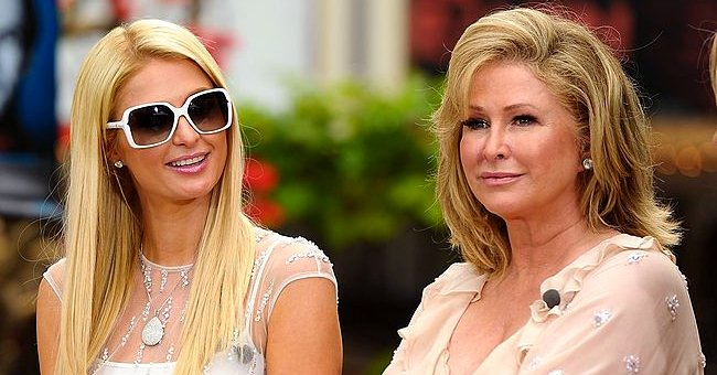"""Paris Hilton pictured visiting """"Extra"""" at The Grove in Los Angeles, California in 2012. 