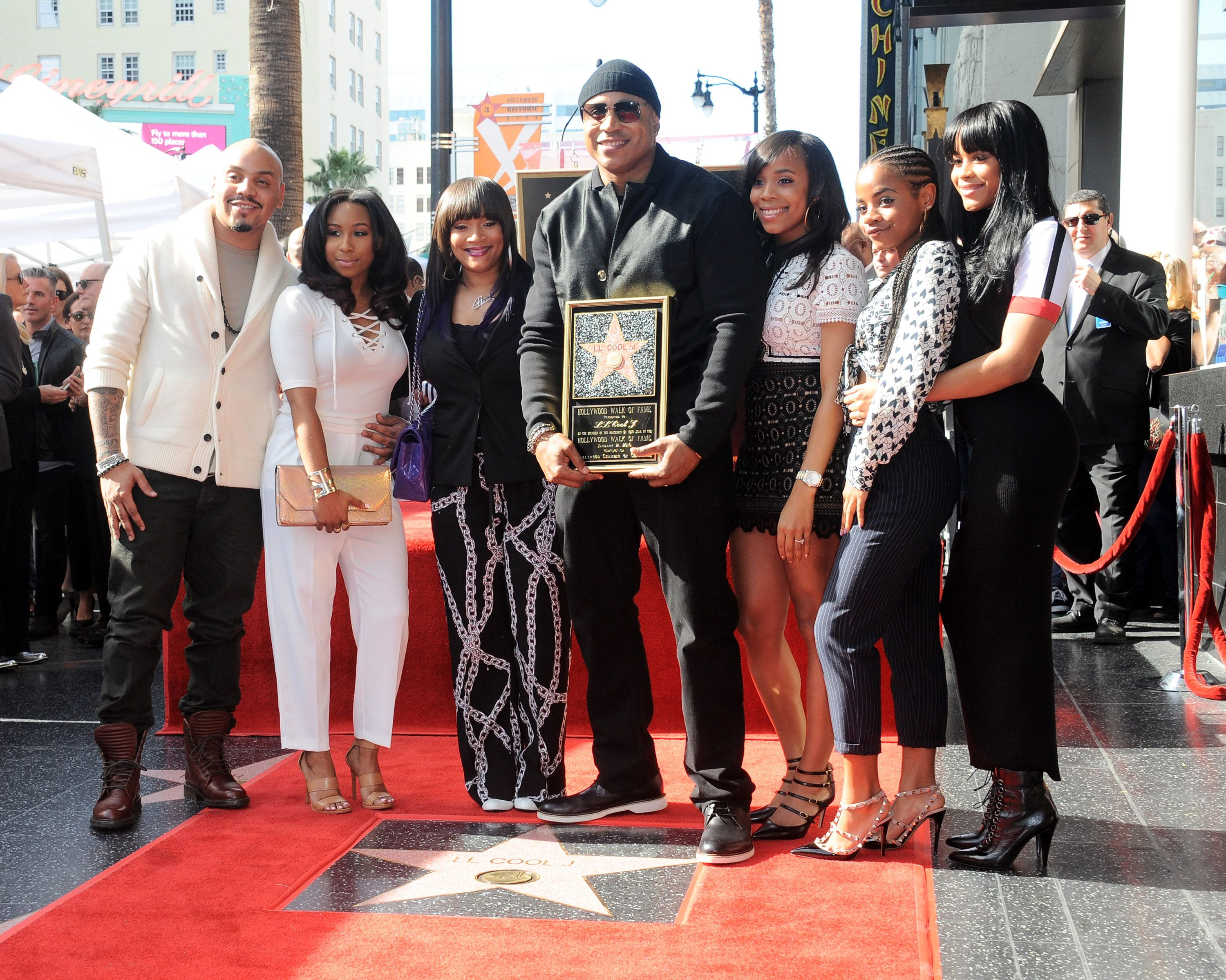 LL Cool J and family at his Star On The Hollywood Walk of Fame Ceremony in 2016 in Hollywood | Source: Getty Images