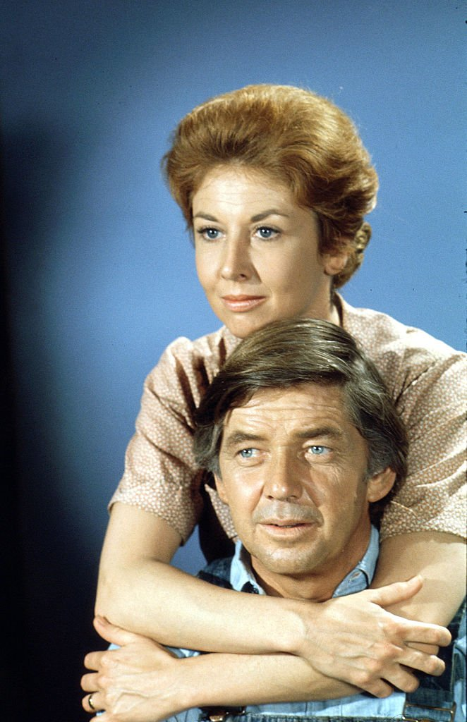 """A portrait of Michael Learned and Ralph Waite on the show """"The Waltons."""" 