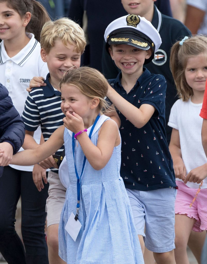 Prince George with Princess Charlotte at The Royal Yacht Squadron during the inaugural Kings Cup regatta   Photo: Getty Images