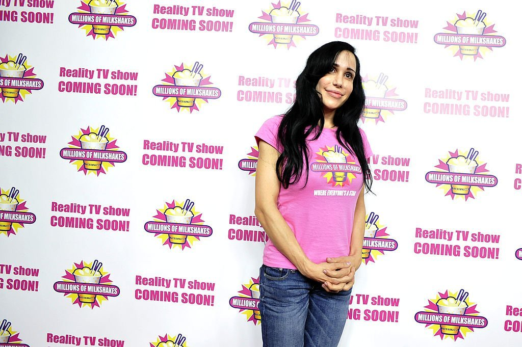 """Nadya Suleman and her large family plus helpers launch their signature Milkshake at """"Millions of Milkshakes"""" 